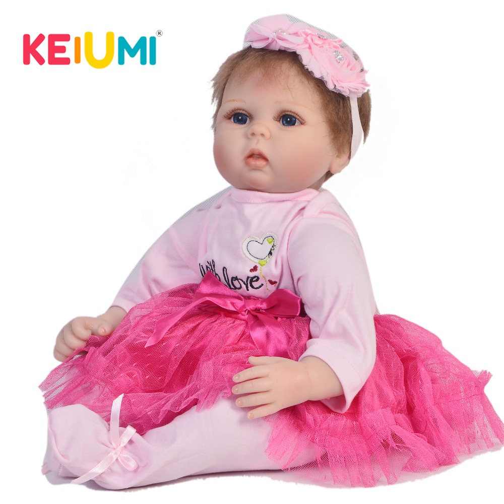KEIUMI Real 22 Inch Newborn Baby Doll Cloth Body Realistic Lovely Baby Doll Toy For Children's Day Kid Christmas Xmas Gifts keiumi real 22 inch newborn baby doll cloth body realistic lovely baby doll toy for children s day kid christmas xmas gifts