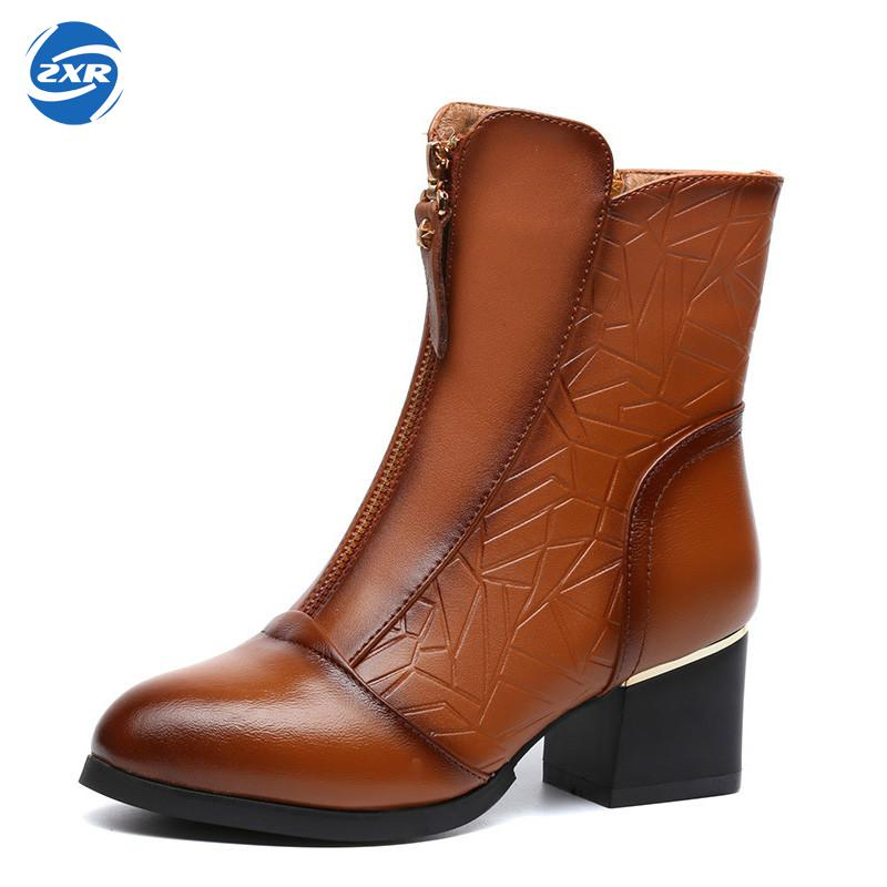 Female Autumn Spring Winter Big Size Genuine Leather Ankle Boots For Women Fashion Med Heels Soft Plush Warm Boots Ladies Shoes