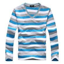 Marke Neue Kleidung männer V-ausschnitt Gestreiften Pullover Pullover Männer Langarm Multi farbe Gestrickte Pullover Männlichen Baumwolle Shirts Stricken
