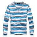Nova marca dos homens de Roupas Com Decote Em V Pulôver Suéter Listrado Dos Homens Multi cor De Malha Blusas de Manga Longa Camisas De Algodão Masculinas de Malha