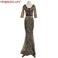 Mesh Long Runway Dresses 2018 Spring 3/4 Sleeve Black / Champagne Women Flowers Embroidery Floor Length Mermaid Dress