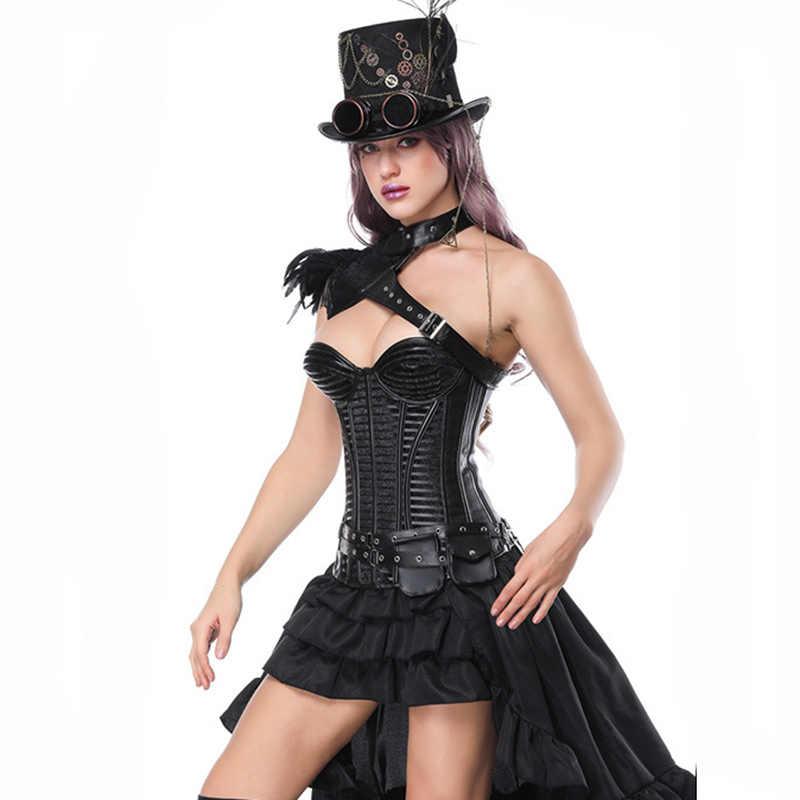 Corzzet сексуальный Бурлеск стимпанк черный кожаный корсет платье Корсеты выше груди и бюстье с многослойной юбкой