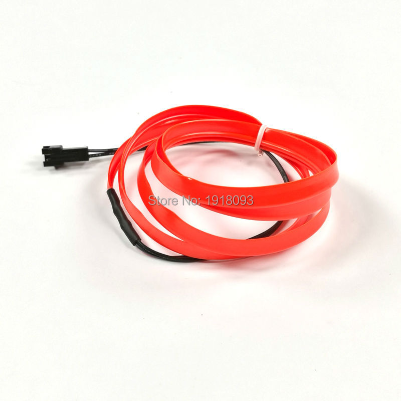 Hot Selling Flexible Neon Light Light-up 2meters Red 2.3mm-skirt EL Wire LED Strip Not Include Driver Car Decorative Flexible LE