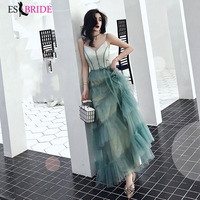 Green Sexy V neck Formal Dresses Evening Gown 2019 Evening Dresses Long Evening Dress Student Party Robe De Soiree ES2485