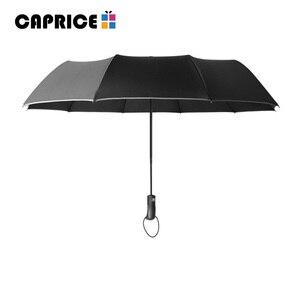Image 2 - Rüzgara dayanıklı Üç Otomatik Katlanır Şemsiye Yağmur Kadınlar Otomatik Lüks Büyük Rüzgar Geçirmez Şemsiye Erkek Çerçeve Rüzgar Geçirmez 10 K Şemsiye