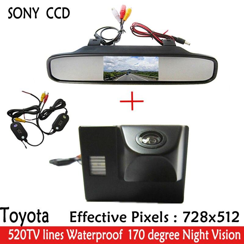 Parking 4.3 'voiture rétroviseur moniteur + SONY CCD HD LED Vision nocturne 170 voiture vue arrière voiture caméra pour OYOTA Land Cruiser LC