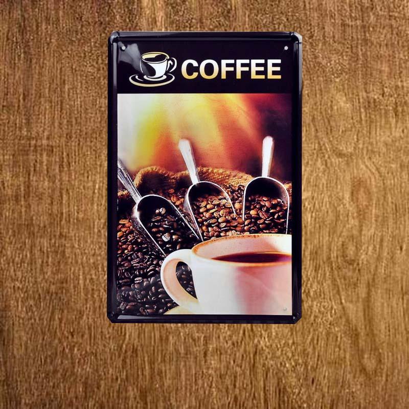 Arrival Coffee Beans 8x12inch Tin Sign Retro Pub