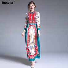 Banulin New Arrival 2019 Fashion Designer Runway Dress Womens Turn Down Collar Charming Floral Print Slim Party Vestidos