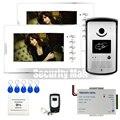 Chuangkesafe Новый Проводной 7 дюймов Цвет Видео Домофонные Дверной звонок домофон система 1 RFID Доступа Камеры + 2 Монитор Белый В Наличии