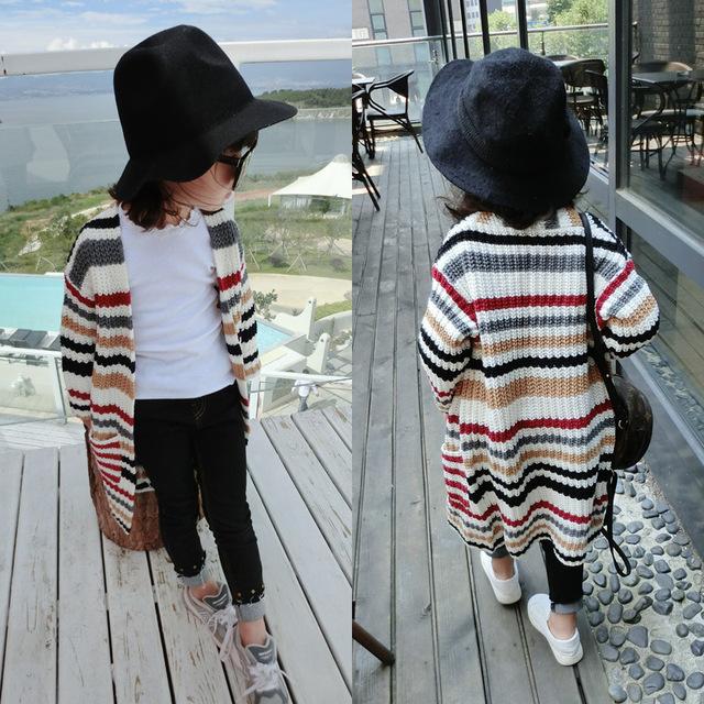 2016 Meninas Cardigan Crianças Camisola Marca Cardigan Listrado de Malha Outwear Quente para a Primavera/Outono Meninos Sweaters Crianças BX8030