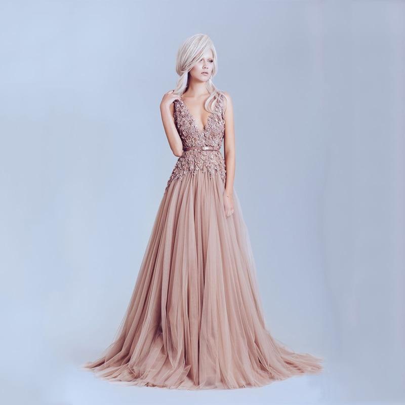 Elegant Dusty Pink Vintage Lace Appliques Long Evening Dresses ...