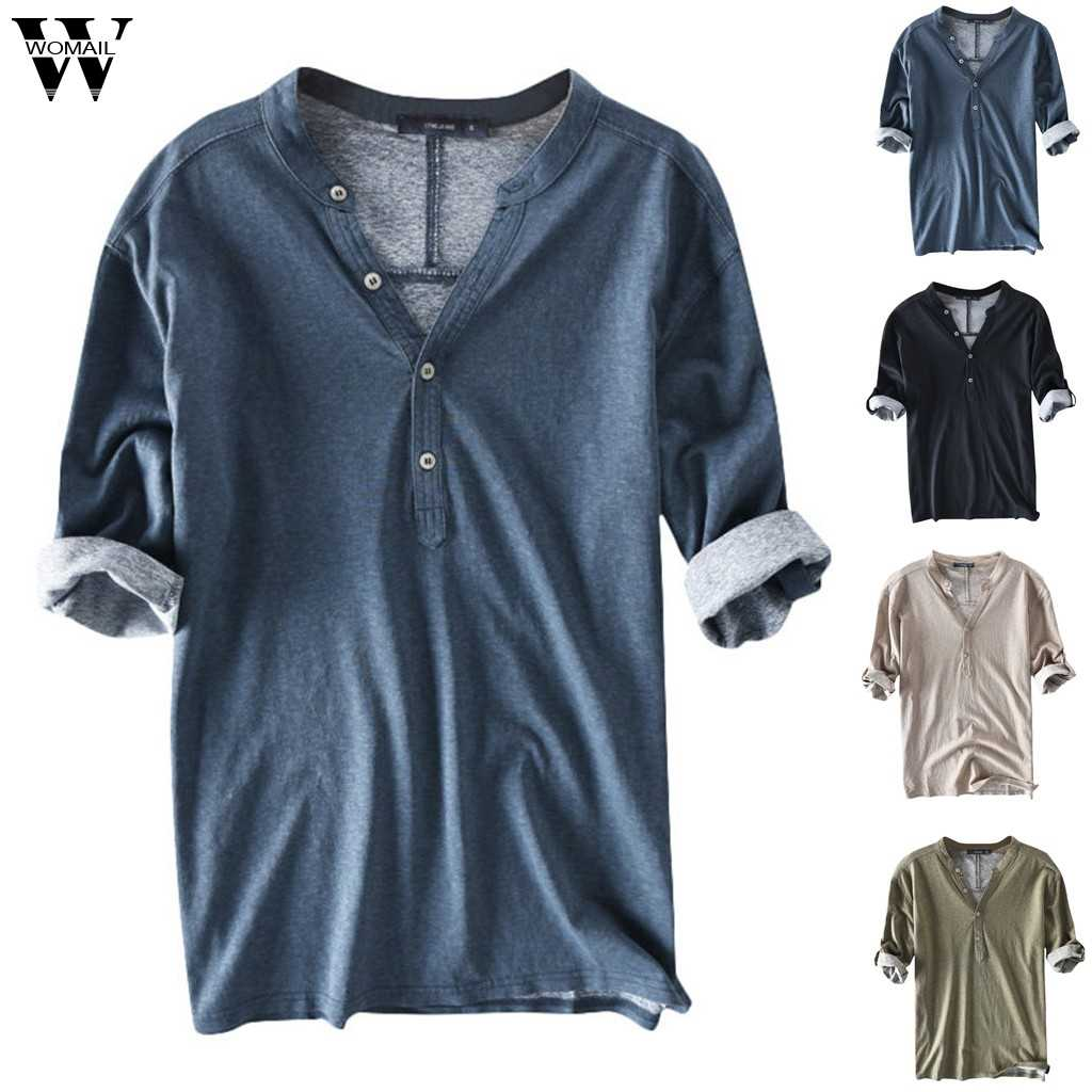Womail t-Shirt Men Summer Casual Cotton Breathable Solid Half Sleeve Summer Buttons T Shirt Gift fashion New Style 2019 A9