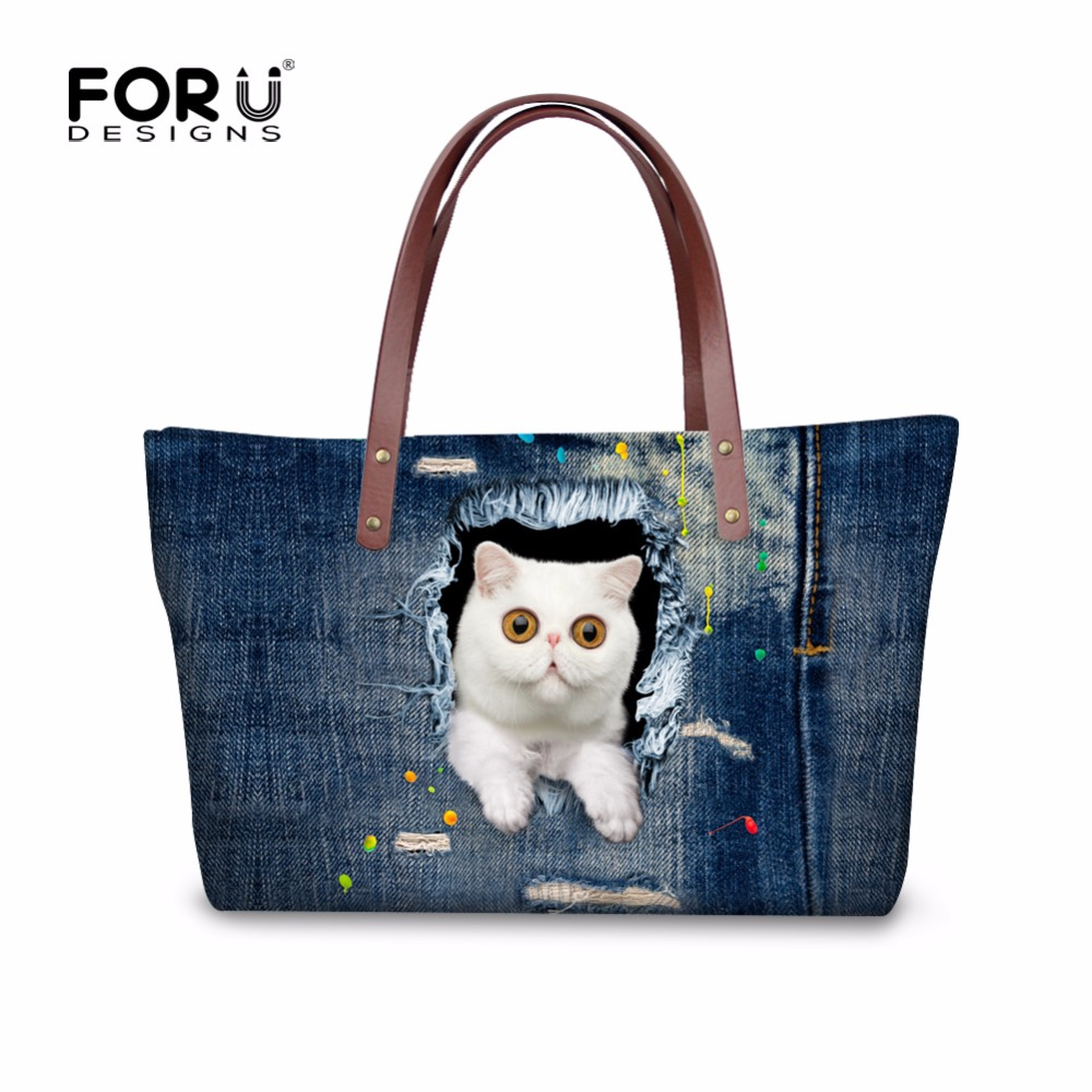Designer Handbags High Quality Women Handbags Bolsas Denim Cowboy Ladies Purses and Handbags 3D Animal Cat Face Top Handle Tote tote bag