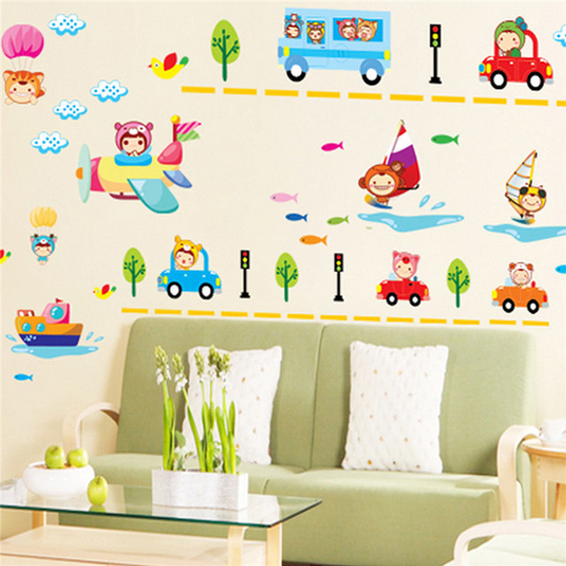 Lowest Price Nursery Classroom Wall Sticker Home Decor Cartoon Vehicle For Kids Bedroom Art Mural Wallpaper