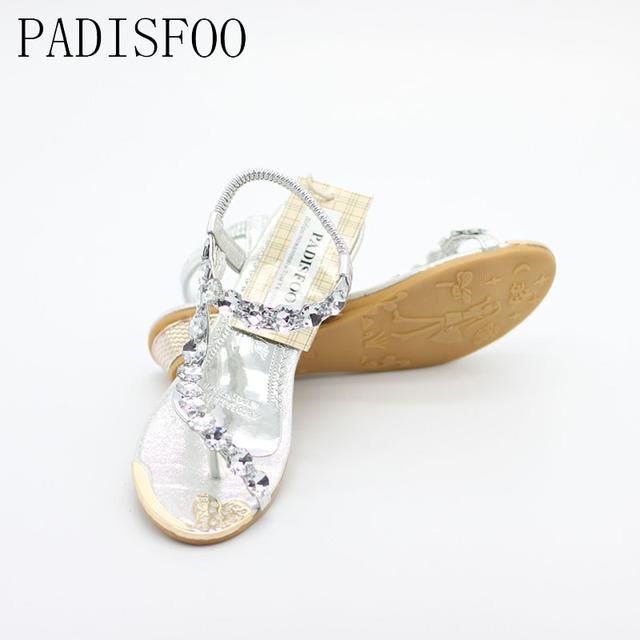 POADISFOO 2017 New Fashion Woman Summer Sandals Shoes With Rhinestone Exquisite Diamond Bohemian Flats .HYKY-8809-1