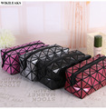 women laser cosmetic organizer makeup bags travel make up bag toiletry pink purse pouch diamond lattice zipper barrel shaped it