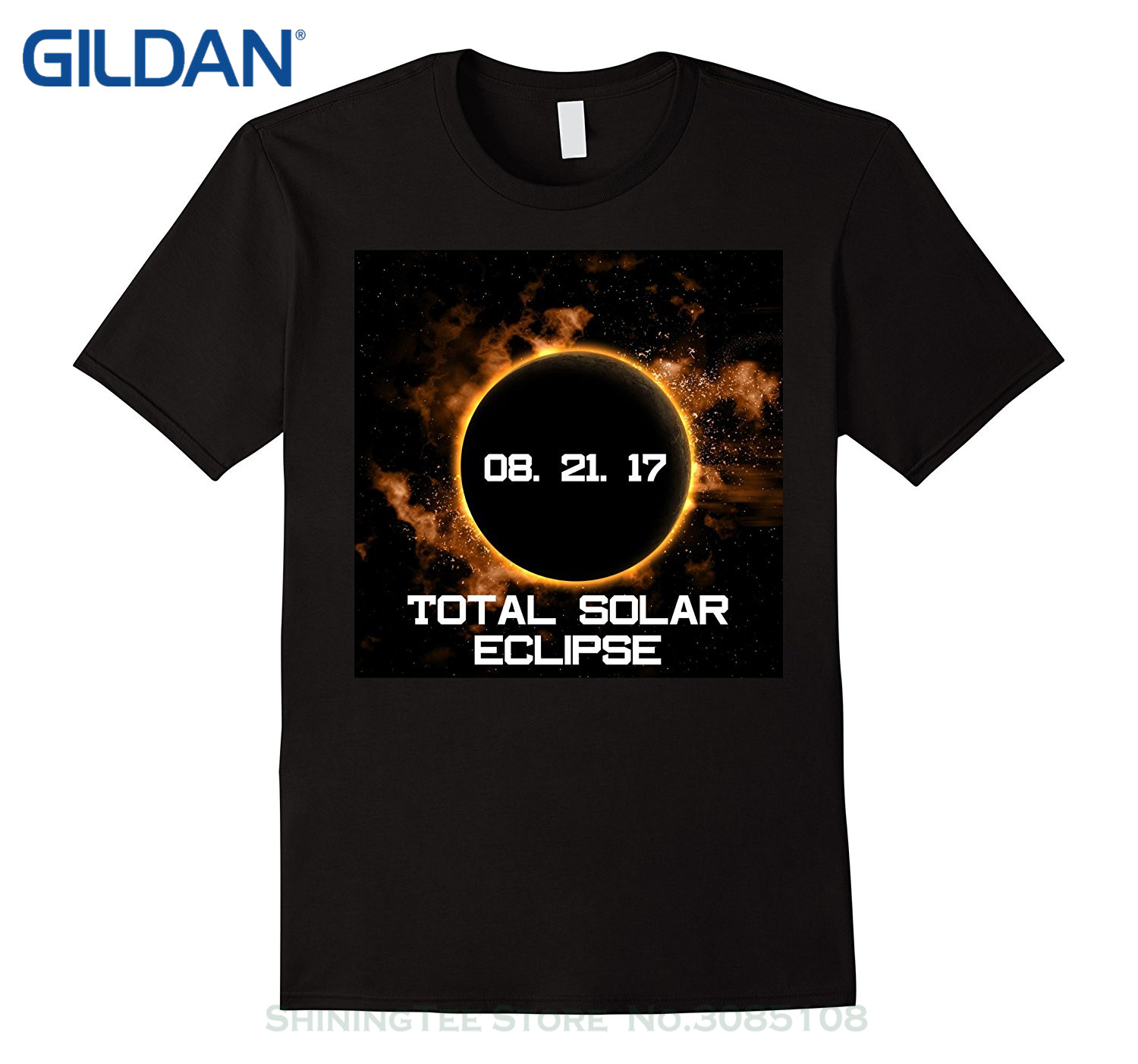 GILDAN Top Tee 100% Cotton Humor Men Crewneck Tee Shirts Total Solar Eclipse August 21 2017 T Shirt