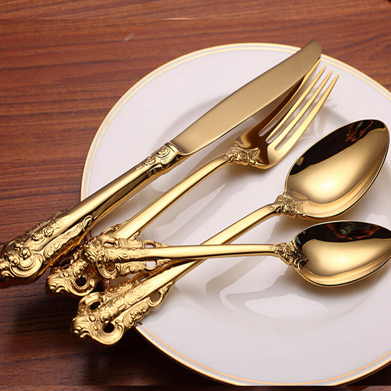4 Pieces Set Royal Golden Color Dinnerware Set High Grade Never Fade 304 Stainless Steel Spoon