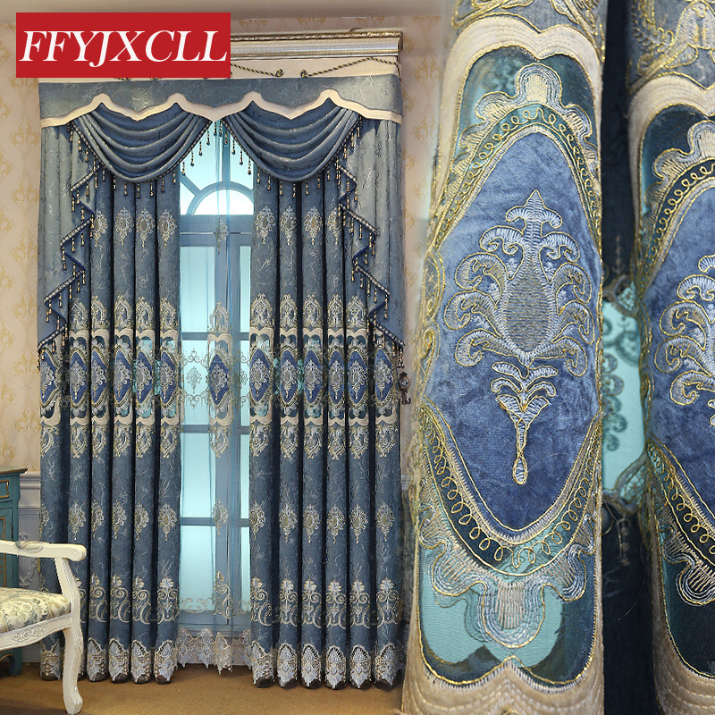 Chenille Cloth Luxury Curtains Jacquard Tulle For Living Room Bedroom Kitchen Embroidered Blackout Curtains Custom Made