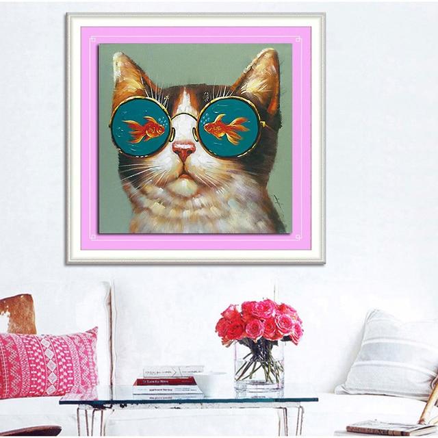 5D pintura al óleo gato, gafas en el pescado DIY diamante patrón ...