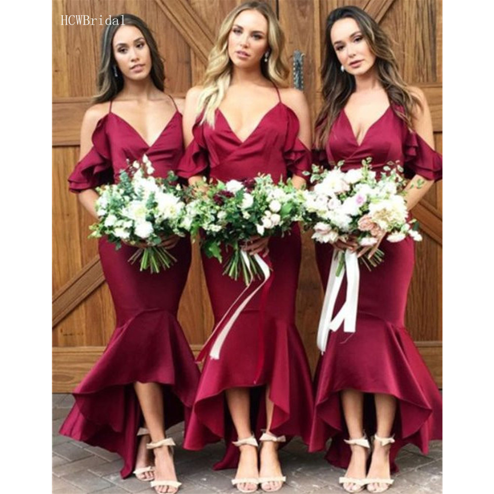 Hot Selling Burgundy Mermaid Maid Of Honor   Dresses   2019 Sweetheart Floor Length Satin Long   Bridesmaid     Dress   Cheap Custom Made