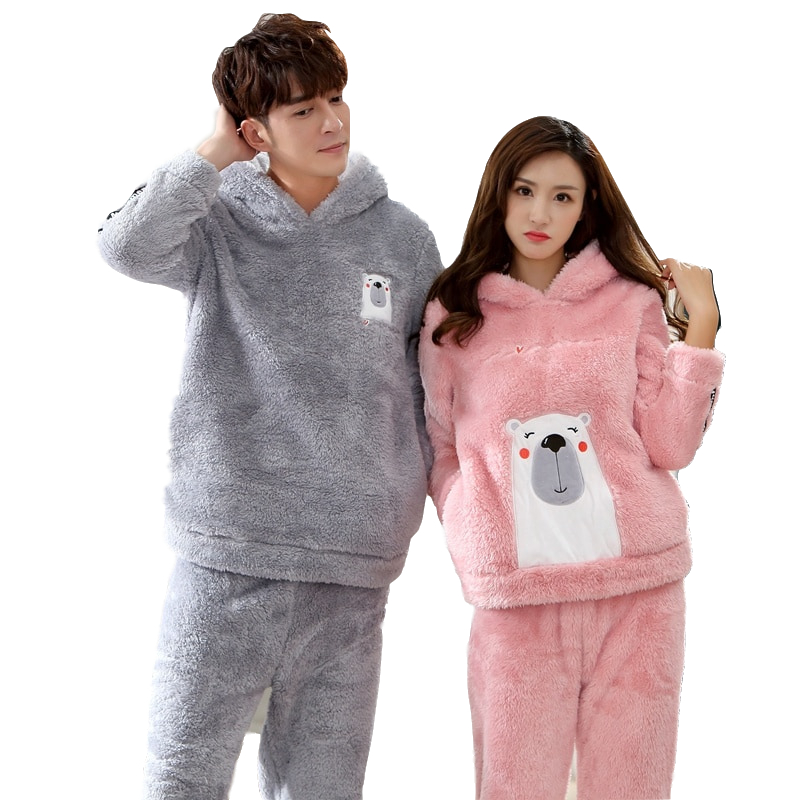 2018 Winter Couples Hooded Thick Warm Flannel   Pajama     Sets   for Women Long Sleeve Velvet Pyjama Men Cute Cartoon Cosplay Sleepwear
