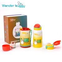 600ML Steel Children Mug Cup Three Lids Exchang Cartoon 316 Stainless Steel Children Drinking Bottle With Bag For Kids Gift