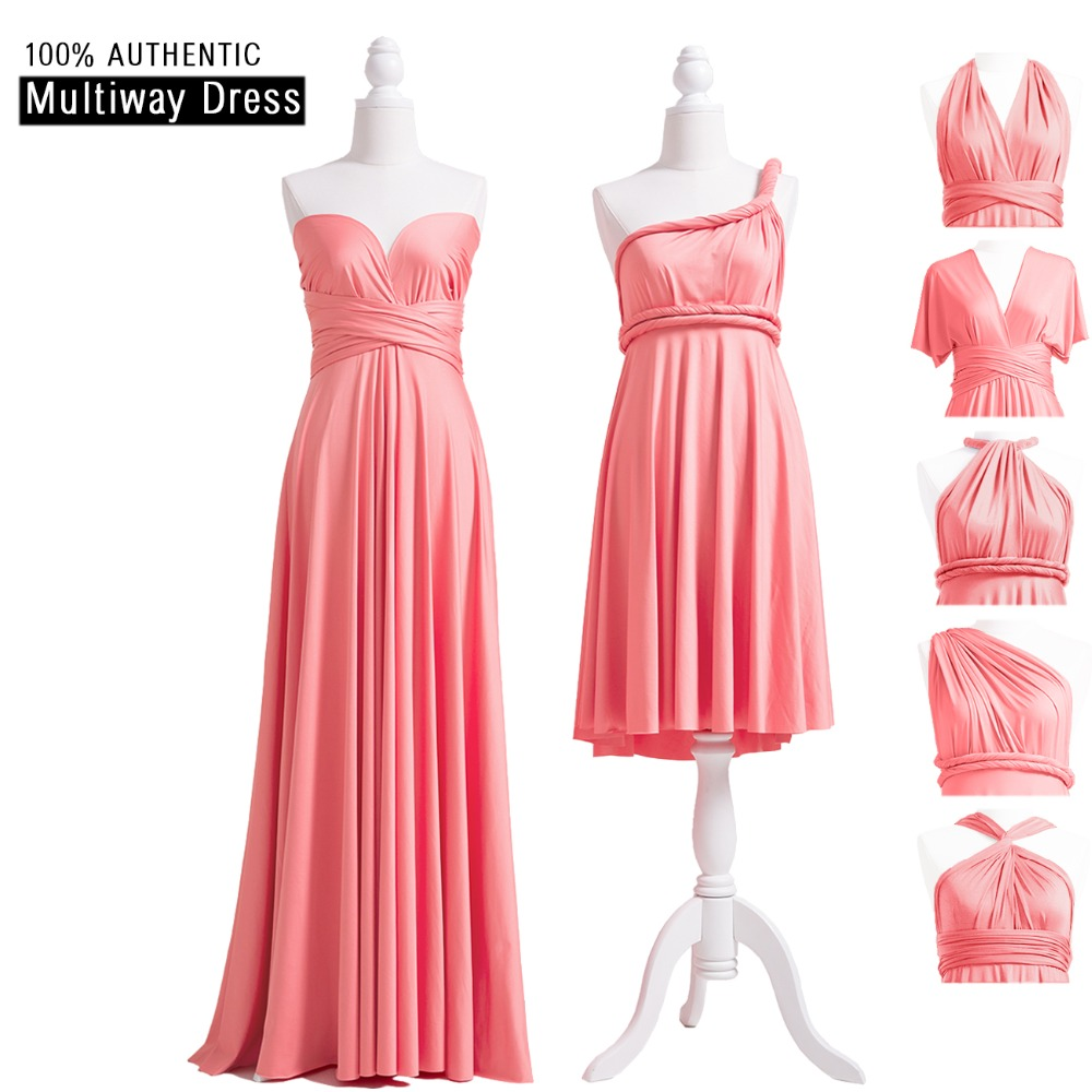 Coral Pink Bridesmaid Dress Long Infinity Dress Multiway Dress Convertible Maxi Wrap Dress With Sweetheart Style