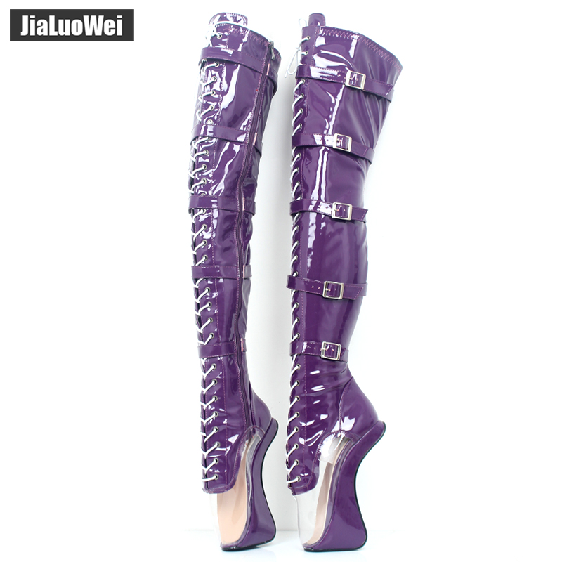 jialuowei 7 Super High Heel Hoof Heelless Ballet Boots Transparent Toe Lace-up Zip Buckle Straps Sexy Fetish Over-Knee Boots jialuowei 7 super high heel hoof heelless ballet boots transparent toe lace up zip buckle straps sexy fetish over knee boots