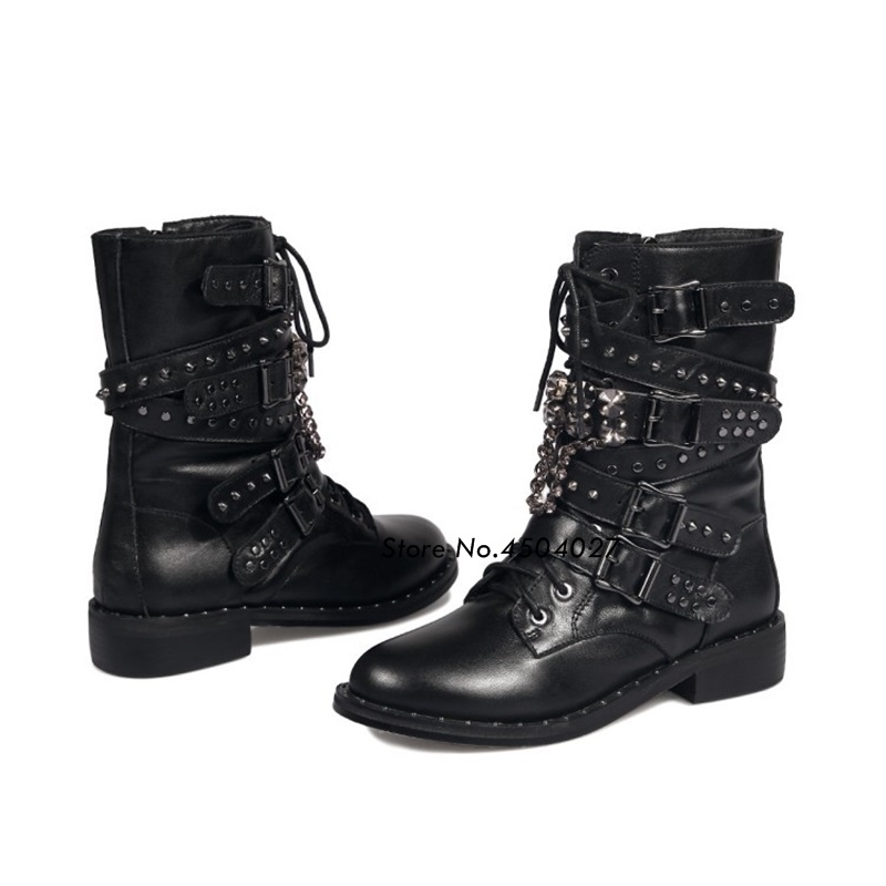 Chaussures Moto Mujer Rivet Mode Femme Femmes Noir Lace Zapatos Court Bretelles Cheville Bottes Style Punk Boucle Up SUYPq