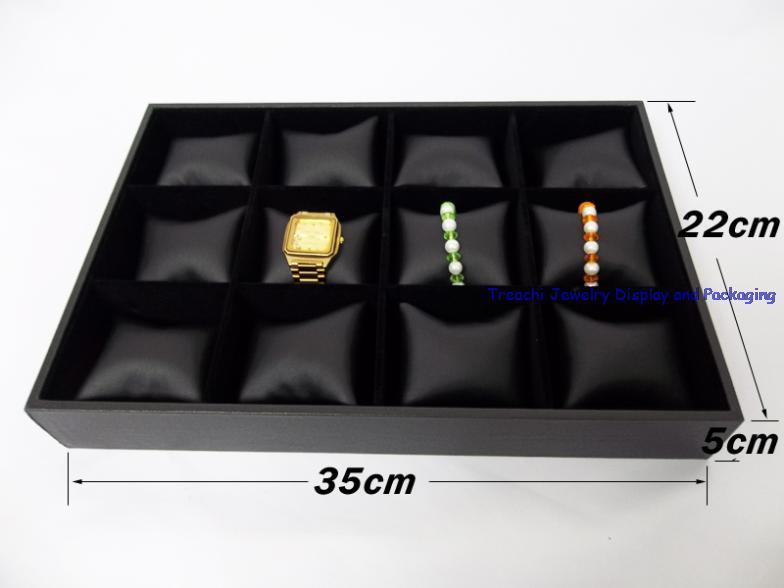 Горячий дисплей идеи ювелирных изделий браслет часы Дисплей лоток черный кожзам ювелирные изделия Дисплей Чехол Держатель 35*22*5 см