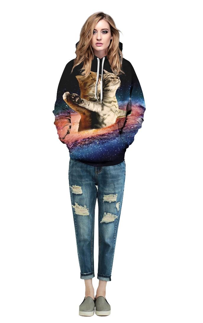 Mr.1991inc новые Стиль звездное небо кошка собака печать Повседневное кофты Для мужчин/wo Для мужчин Толстовка Горячая капюшоном Пуловеры для же...