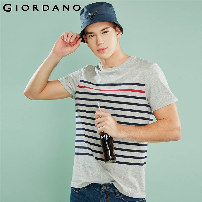 Giordano Men Striped Tshirt Casual Summer Tops For Men 2018 Camisetas Hombre Ribbed Crewneck   T     Shirt   Men Tee   Shirt   Homme