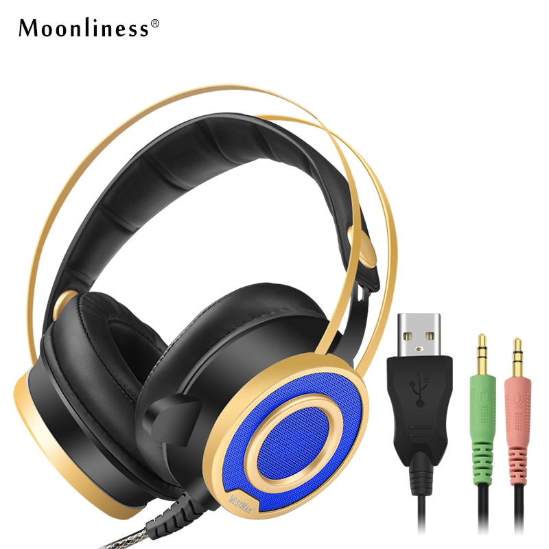 Moonliness Gaming Headphones with Sound USB Stereo Headset Noise Isolating Over-ear Headphones LED Light with Mic PC Computer magift sound effect gaming headset stereo headphones with mic for computer pc laptop gamer with led light over ear glowing