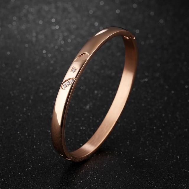 Браслет из циркония цвет розовое золото простой браслет для