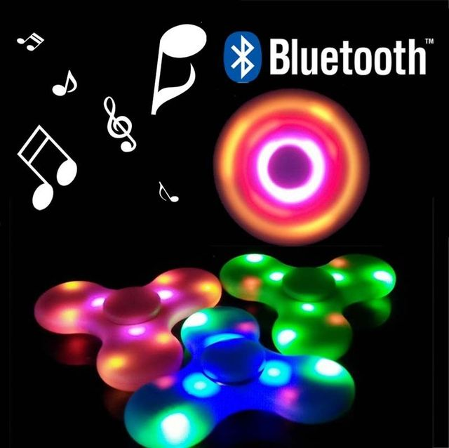USB Rechargeable Bluetooth Speaker Spinner Tri Colorful LED Rainbow Glow In The Dark Figit Figet