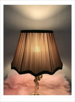 new ! coffee color Lamp cover for table lamp wave Pattern lace Textile Fabrics Decorative lamp shade