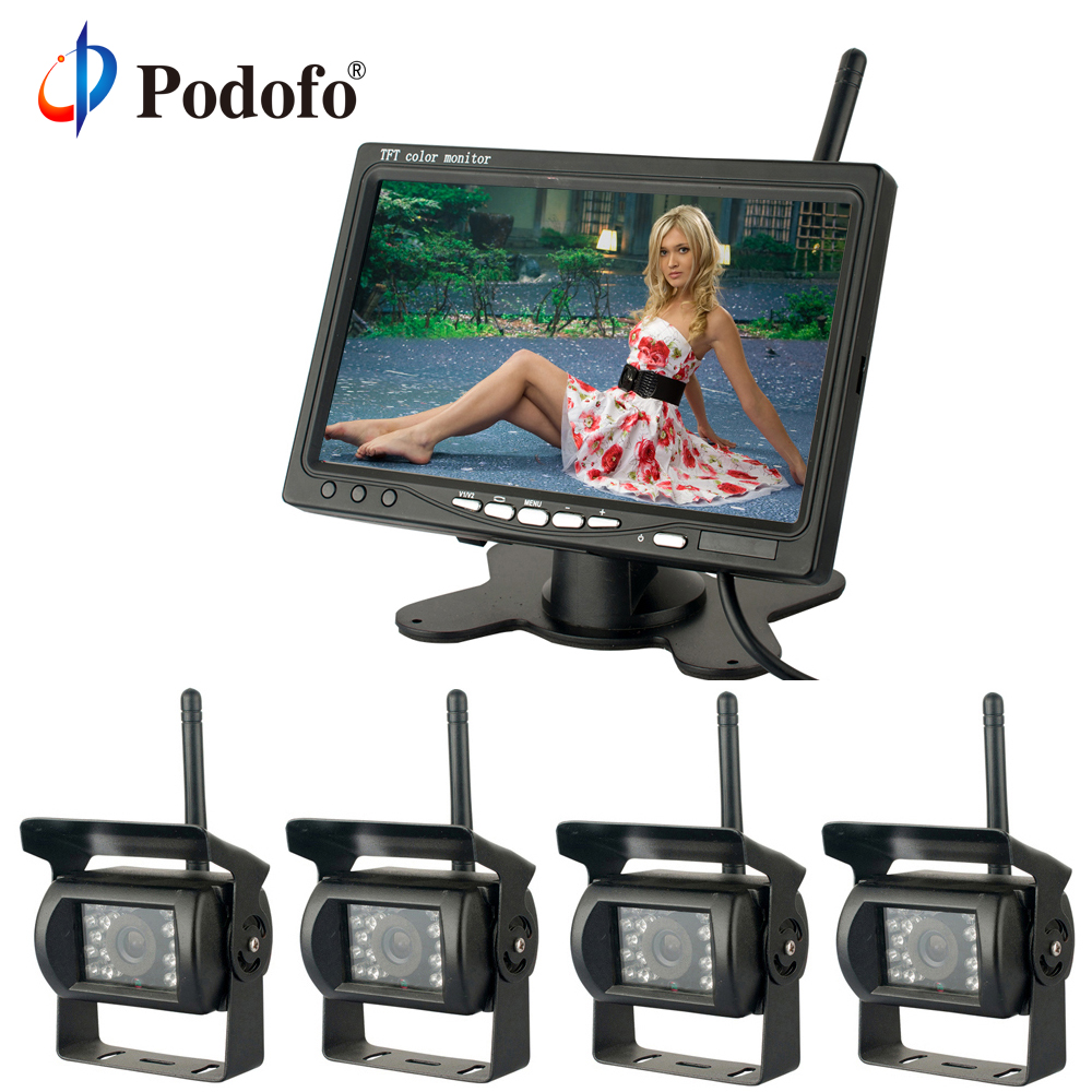 Podofo Wireless 4 Backup Cameras With 7