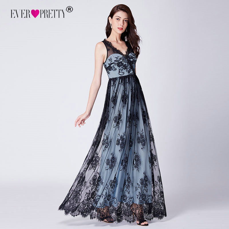 Lace   Evening     Dresses   Long Ever Pretty Cheap A-line Sleeveless V-neck Formal Party Gowns Sexy Illusion Elegant Robe De Soiree