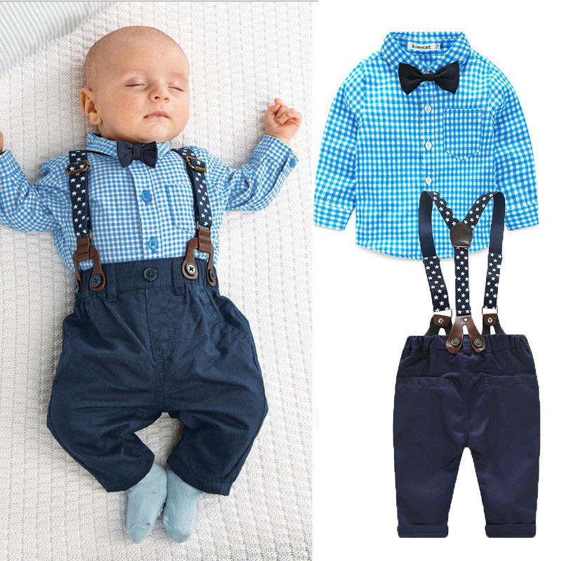 Baby kids young gentleman clothes sets long sleeve plaid for Baby boy blue shirt