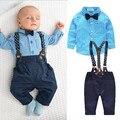 Bebê Crianças Jovens Conjuntos de Roupas Cavalheiro Manga Longa Xadrez Azul Camisa Topos + Calças Suspender Casuais 2 PCS Desgaste Do Outono para o Bebê Meninos