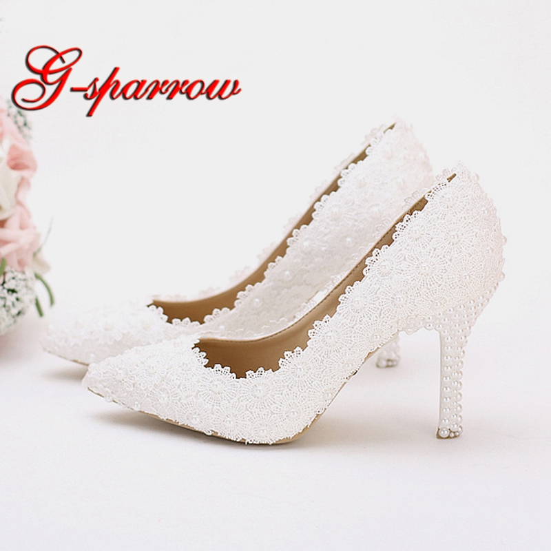 White Lace Wedding Party Shoes Girl Birthday Party Pumps Handmade Bridesmaid Shoes Pointed Toe Women Spring