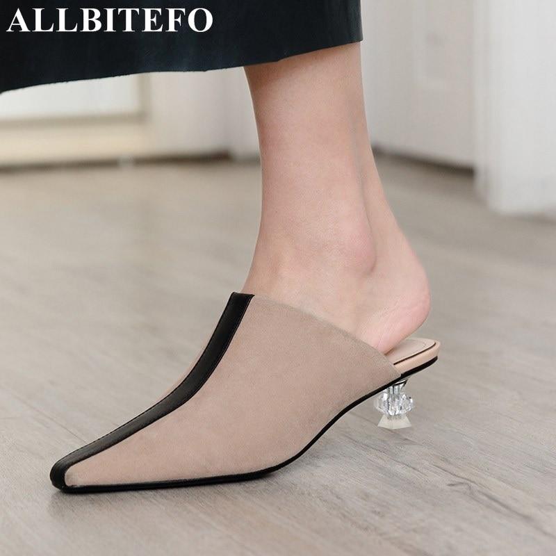 ALLBITEFO natural genuine leather Transparent shoe heel fashion women high heel shoes summer cool girls high heels shoes woman