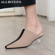 ALLBITEFO natural genuine leather Transparent shoe heel fashion women high heel shoes summer cool girls high heels shoes woman
