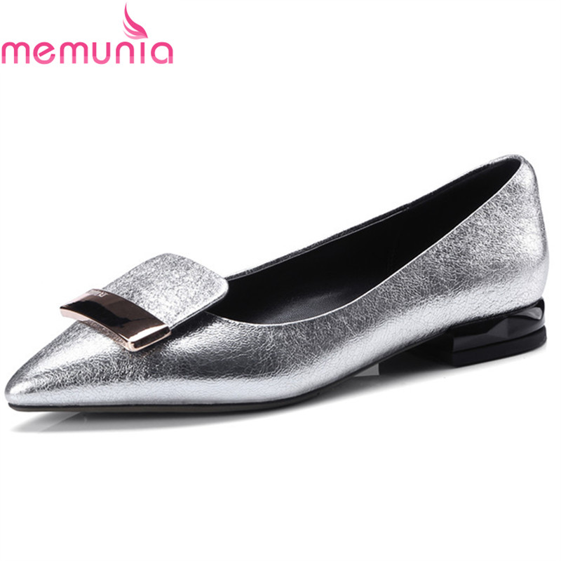 MEMUNIA spring autumn ladies pumps women shoes low heels 2cm sheepskin pointed toe simple hot sale comfortable dress shoes