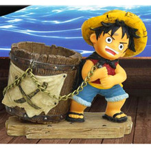 Anime One Piece Luffy Resin Action Figure Pen Holders Monkey D Luffy desk Pencil Pot