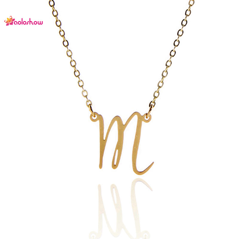 AOLOSHOW Initials Necklace Women Stainless Steel Personalized Collier Femme Jewelry Gold color Letters Charm Necklace NL-2457