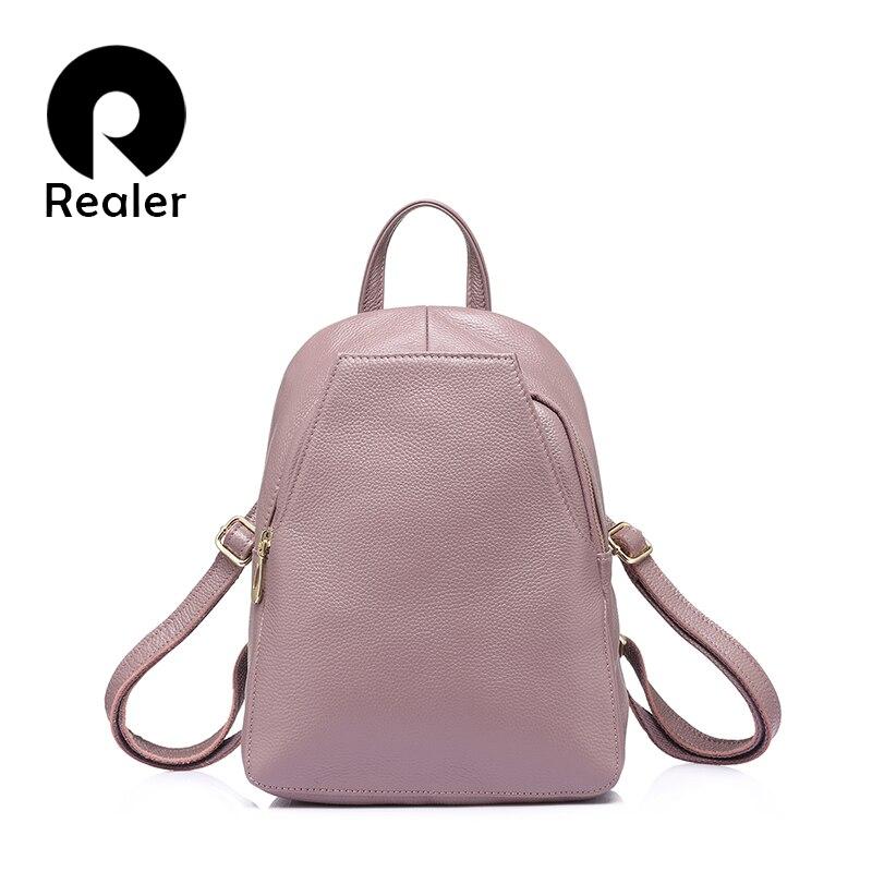 REALER fashion women genuine leather backpacks for girl high quality female shoulder bags teenagers schoolbag mochila