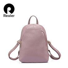 REALER fashion women genuine leather backpacks for girl high quality female shoulder bags teenagers schoolbag mochila small girl(China)
