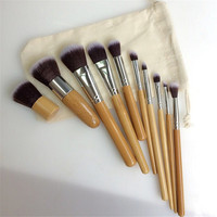 10 Pcs Set Eco Friendly Bamboo Wooden Handle Makeup Brushes Vegan Cosmetic Original Kabuki Makeup Kit